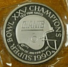 1990 NY Giants Super Bowl XXV Champions 1 Troy Ounce .999 Fine Silver Coin