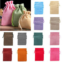 10PCS Burlap Jute Candy Bags Jewelry Wedding Favor Pouch Drawstring Gift Bag-S