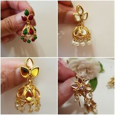 Ethnic Indian pakistani Asian Wedding kundan work Jhumka Jhumki Jewellery