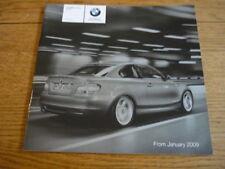 BMW 1 Series COUPE listino prezzi di vendita opuscolo gennaio 2009