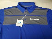 NEW Brunswick Bowling Large Short Sleeve Polo Shirt Blue Gray Striped