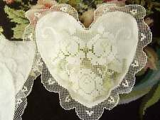 Elegant Hand Filet Lace Rose Cotton White Heart Shape Doily Satchel