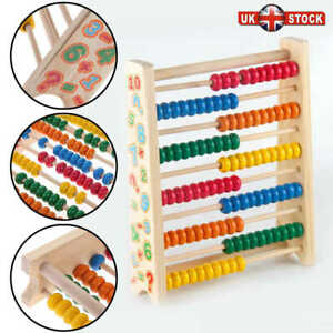 Wooden Bead Abacus Kids Educational Math Learning Colourful Toy Counting Numbers