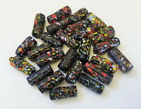 25 handmade GLASS BEADS Black Multicolor TUBE lot