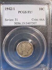 1942/1 MERCURY DIME PCGS FINE 15  RARE OVERDATE SOUGHT AFTER ERROR