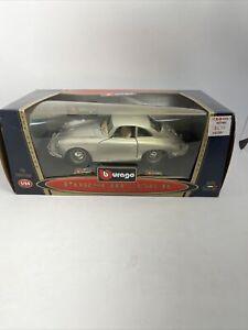 1961 Porsche Coupe Silver 356 B Burago Diecast 1:24 Scale Model Car Collectible