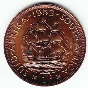 SOUTH AFRICA 1 penny 1952 KM34.2 Bronze 2-yr type GVI PROOF minted 16,000 RARE !