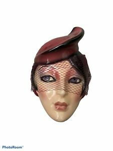Vintage Clay Art Ceramic Face Wall Mask Beautiful Woman with Hat w/veil