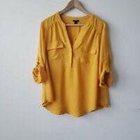 Torrid popover roll tab sleeve yellow blouse sz 1x