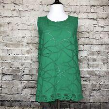 Women's CAbi 5036 Green Sleeveless Eyelet Gemma Tank Top Size Small