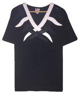 Vtg Porat Art Fashion Women's Single Stitch Leather Collar Detail T-Shirt Size L