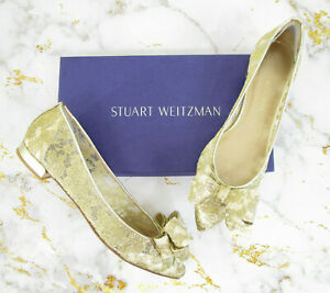 Stuart Weitzman Gold Guipure Lace Bow Pointed Slip On Flats Shoes Size 9N