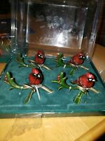 Classic Tidings Placecard Holders Enameled Cardinals on Holly Branches 2007 NIB