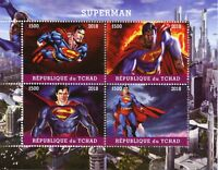 Chad 2018 CTO Superman 4v M/S Superheroes DC Comics Stamps