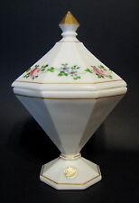 Vintage Westmoreland Milk Glass Compote 8 Sided White Hand Painted 7 to 8 Inch