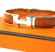 Auténtico Hermès [PM tamaño] clic clac Brazalete Pulsera Esmalte Naranja + Caja + Bolsa