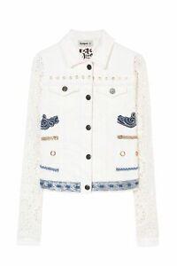 Spain Desigual Embroidered knitted sleeve denim jacket