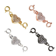 4 Colors Rhinestone Magnetic Clasps Metal Heart For Necklace Jewelry Making