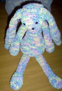 Hand crocheted pastel multicolor toy stuffed bunny, matching items listed