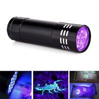 Black Mini Aluminum UV ULTRA VIOLET Torch 9LED FLASHLIGHT BLACKLIGHT Light Lamp