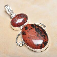 """Handmade Obsidian Mahogany Jasper 925 Sterling Silver Pendant 2.25"""" #P13369"""