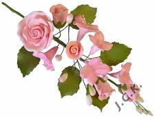 Pink rose & dogwood sugar flower spray cake topper decoration L - reduced