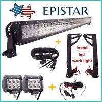 """52"""" 300W+2X 18W Spot LED Light Bar+Mount Brackets for Jeep JK Wrangler+2X Wiring"""