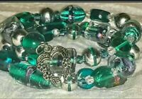 Memory Wire Wrapped Bracelet With Teal Green Color Toned Glass Beads  Handmade