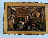 Vintage 3D Wooden Shadow Box Picture Diorama Kitchen Madeira Portugal