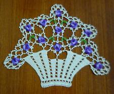 Gorgeous Crocheted Doily~Vase Of Purple Flowers ~ Sz 25 Cm X 31 Cm. Vgc