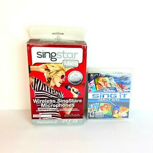 Sony PS2 and PS3 Singstar Mics with Disney Sing It Family Hits Blu Ray Disc New