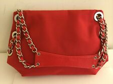 Tianni Red Small Shoulder Bag Purse With Silver-tone Chains EUC