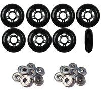 Inline Skate Wheels 76mm 82A Black Outdoor Roller Hockey 8 Pack -Abec 5 Bearings