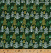 Cotton Christmas Trees Metallic Holiday Fabric Print by the Yard D585.21