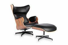 Mid Century Modern Wingback Plywood Palisander Vintage Lounge Chair Ottoman Set