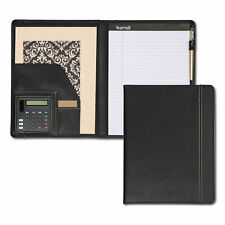 Samsill Pad Holder w/Calculator Leather-Look/Faux Reptile Trim Writing Pad Black