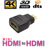 NEW Mini HDMI Male to Standard HDMI Female Adapter Gold Plated HDTV 4K 1080p 3D