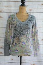 Before + Again - PEACOCK print COTTON BLEND V-neck waffle TEE long sleeve, S