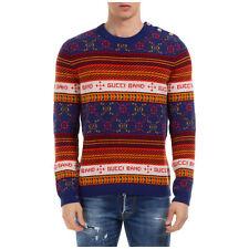 Gucci Pullover herren 577404 xkau8 4915 Rundhalsausschnitt Blu pulli jersey