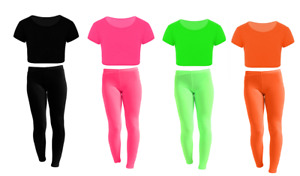 New Girls Kids Microfiber Crop Top Leggings Set Beach Cycling Sports Dance Wear