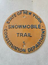 VINTAGE 1960s NEW YORK STATE CONSERVATION DEPT. SNOWMOBILE TRAIL METAL SIGN
