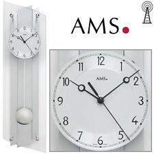 AMS 39 horloge murale radio-pilotée avec pendule montre Funky aluminium poli à