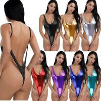 UK Women One Piece Bodysuit Shiny Metallic Monokini Swimwear Backless Leotard