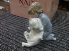 "NAO by Lladro #1408  01408 ""Goodnight Kiss"" Little Boy with Stuffed Dog 2001"