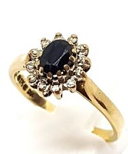 9ct yellow gold Diamond and Sapphire cluster ring size N 1/2 Fully Hallmarked