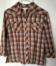 Arizona Junior's Large Shirt 3/4 Sleeves Brown Plaid Western Fitted Pearlized