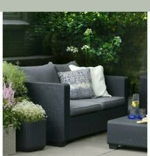 Keter Graphite Resin Plastic Outdoor Loveseat Flanelle Cushions Patio Furniture