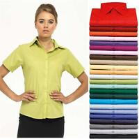 Premier Short Sleeve Poplin Blouse Shirt 24 colours sizes 6-26 hospitality PR302