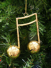 ANTIQUE GOLD SIXTEENTH NOTES w/ JINGLE BELLS MUSIC THEME CHRISTMAS ORNAMENT