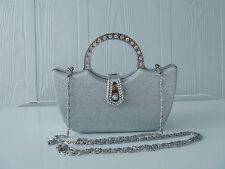 Silver Womens clutch bag/Evening bag/quality fashion handbag. Postage free. 8220